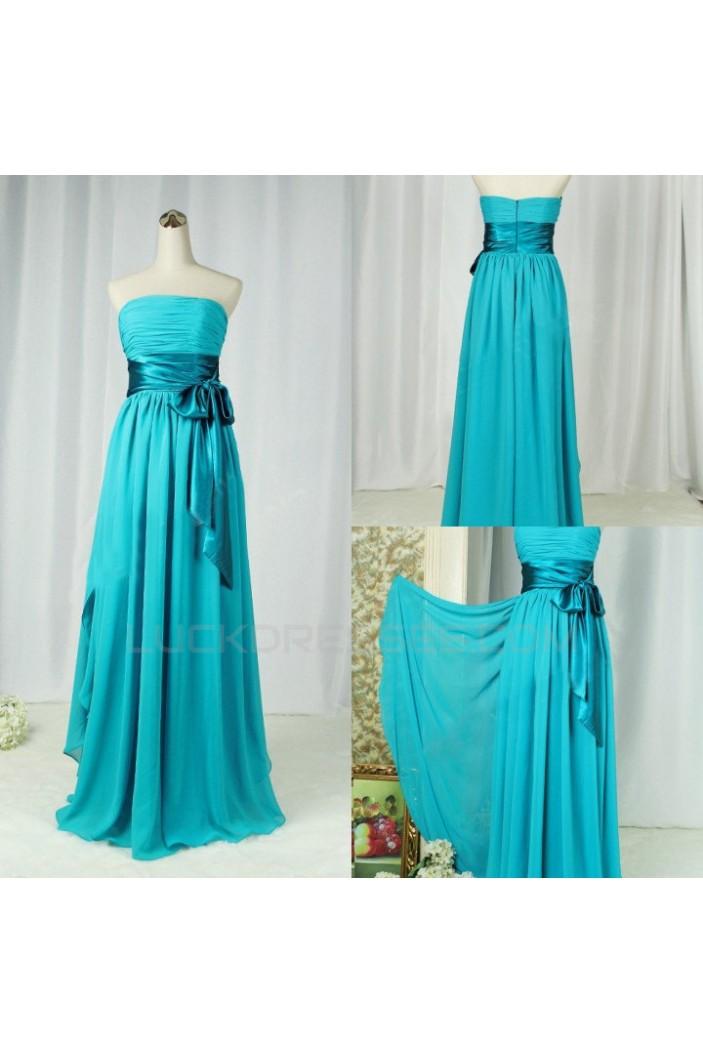 A-Line Strapless Long Blue Chiffon Bridesmaid Dresses/Wedding Party Dresses BD010397