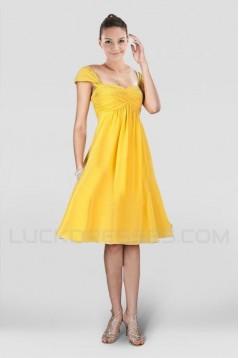 A-Line Short Yellow Chiffon Bridesmaid Dresses/Wedding Party Dresses BD010400