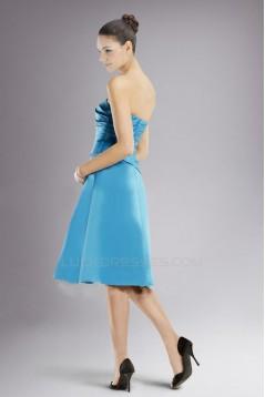 A-Line Strapless Blue Knee-Length Bridesmaid Dresses/Wedding Party Dresses BD010402