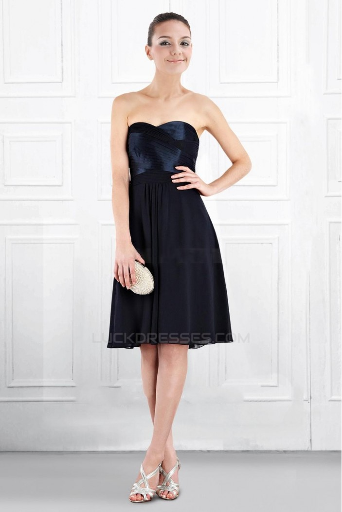 A-Line Sweetheart Black Knee-Length Bridesmaid Dresses/Wedding Party Dresses BD010403