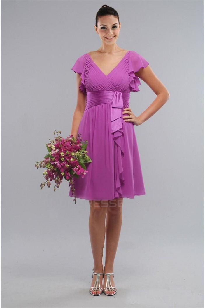 A-Line Short Purple Knee-Length Bridesmaid Dresses/Wedding Party Dresses BD010405