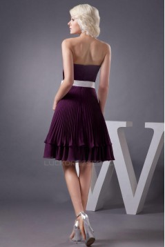 A-Line Strapless Pleated Purple Knee-Length Bridesmaid Dresses/Wedding Party Dresses BD010412