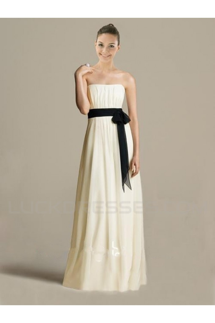 A-Line Strapless Floor-Length Chiffon Bridesmaid Dresses/Wedding Party Dresses BD010416