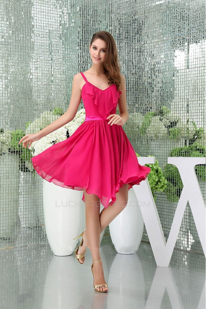 A-Line Spaghetti Strap Hot Pink Short Chiffon Bridesmaid Dresses/Wedding Party Dresses BD010421