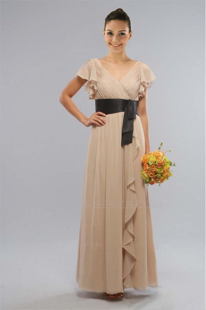 Sheath/Column V-Neck Long Chiffon Bridesmaid Dresses/Wedding Party Dresses BD010422