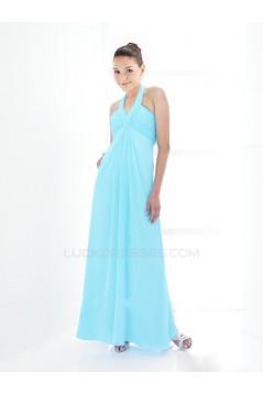 Empire Halter Long Blue Chiffon Bridesmaid Dresses/Wedding Party Dresses BD010423