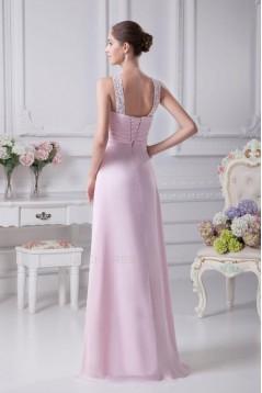 A-Line Empire Beaded Floor-Length Pink Chiffon Bridesmaid Dresses/Wedding Party Dresses/Maternity Dresses BD010426