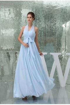 A-Line Halter Long Blue Chiffon Bridesmaid Dresses/Wedding Party Dresses BD010432