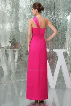 Sheath One-Shoulder Hot Pink Long Bridesmaid Dresses/Wedding Party Dresses BD010433