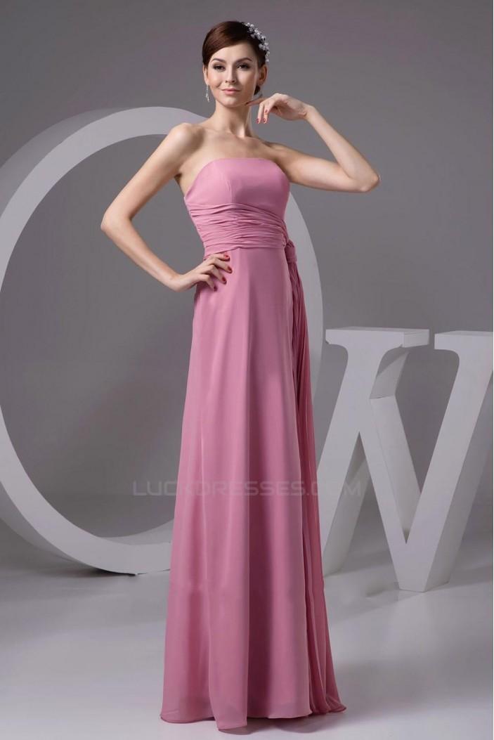A-Line Strapless Long Chiffon Bridesmaid Dresses/Wedding Party Dresses BD010435