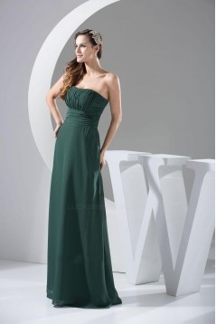 A-Line Strapless Long Chiffon Bridesmaid Dresses/Wedding Party Dresses BD010436