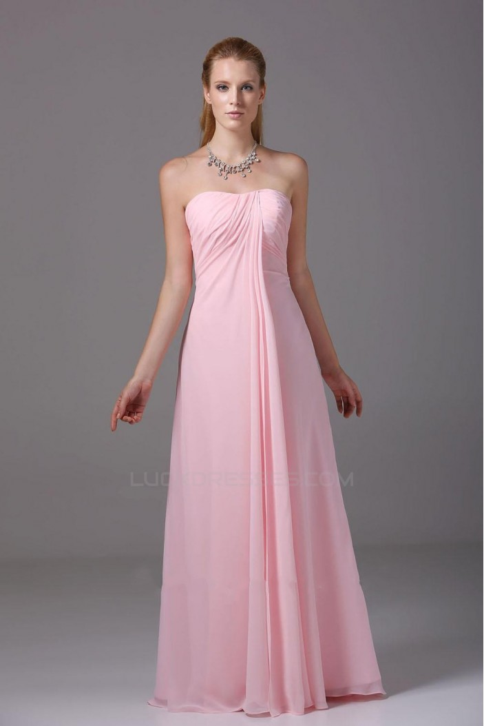 A-Line Strapless Pink Floor-Length Chiffon Bridesmaid Dresses/Wedding Party Dresses BD010443