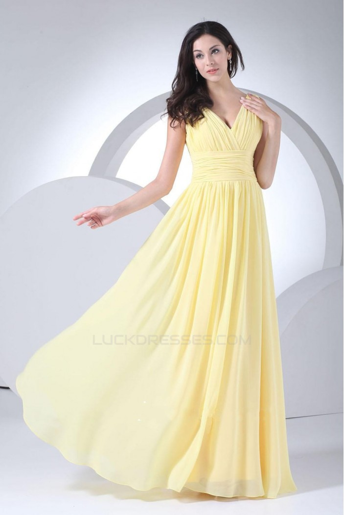 A-Line V-Neck Yellow Chiffon Floor-Length Bridesmaid Dresses/Wedding Party Dresses BD010444
