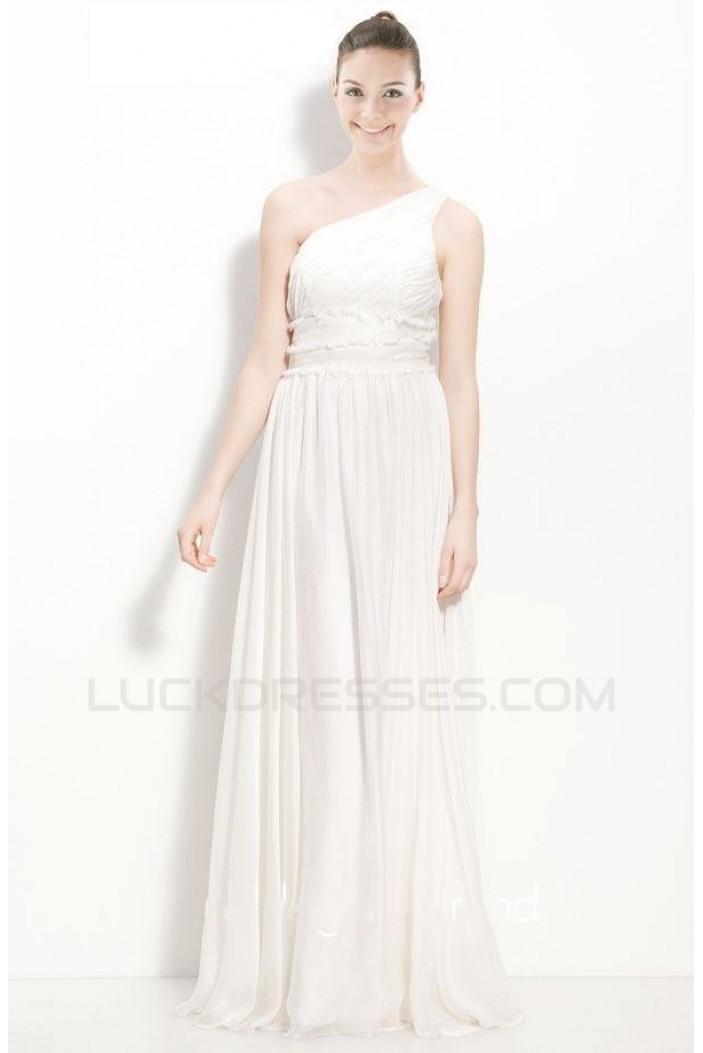 A-Line One-Shoulder Floor-Length White Chiffon Bridesmaid Dresses/Wedding Party Dresses BD010446