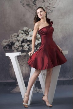 A-Line One-Shoulder Short Taffeta Bridesmaid Dresses/Wedding Party Dresses BD010450