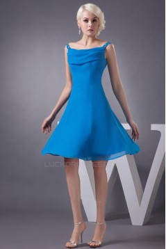 A-Line Beaded Spaghetti Strap Short Blue Chiffon Bridesmaid Dresses/Wedding Party Dresses BD010451