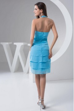 Short/Mini Halter Blue Chiffon Bridesmaid Dresses/Wedding Party Dresses BD010452