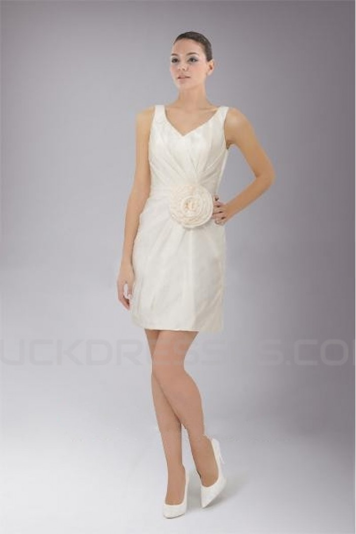 Short/Mini White Chiffon Bridesmaid Dresses/Wedding Party Dresses BD010453