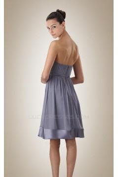 Empire Strapless Grey Short Chiffon Bridesmaid Dresses/Wedding Party Dresses/Maternity Dresses BD010454