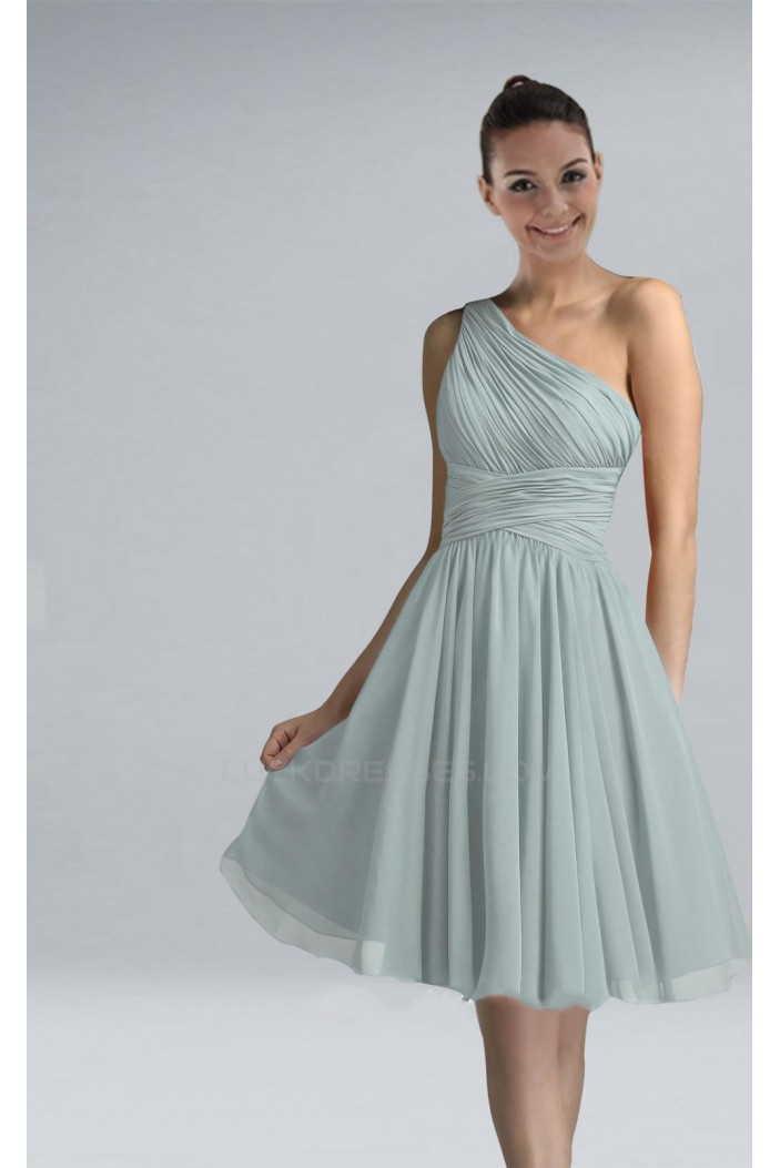 A-Line One-Shoulder Short Chiffon Bridesmaid Dresses/Wedding Party Dresses BD010456
