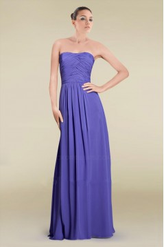Sheath/Column Strapless Floor-Length Chiffon Bridesmaid Dresses/Wedding Party Dresses BD010465