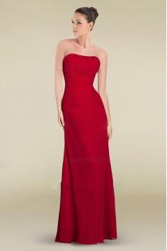 Sheath/Column Strapless Floor-Length Red Chiffon Bridesmaid Dresses/Wedding Party Dresses BD010466