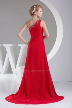 Sheath/Column One-Shoulder Beaded Long Red Chiffon Bridesmaid Dresses/Wedding Party Dresses BD010467