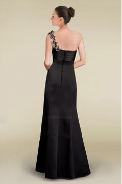 Trumpet/Mermaid One-Shoulder Long Black Bridesmaid Dresses/Wedding Party Dresses BD010468