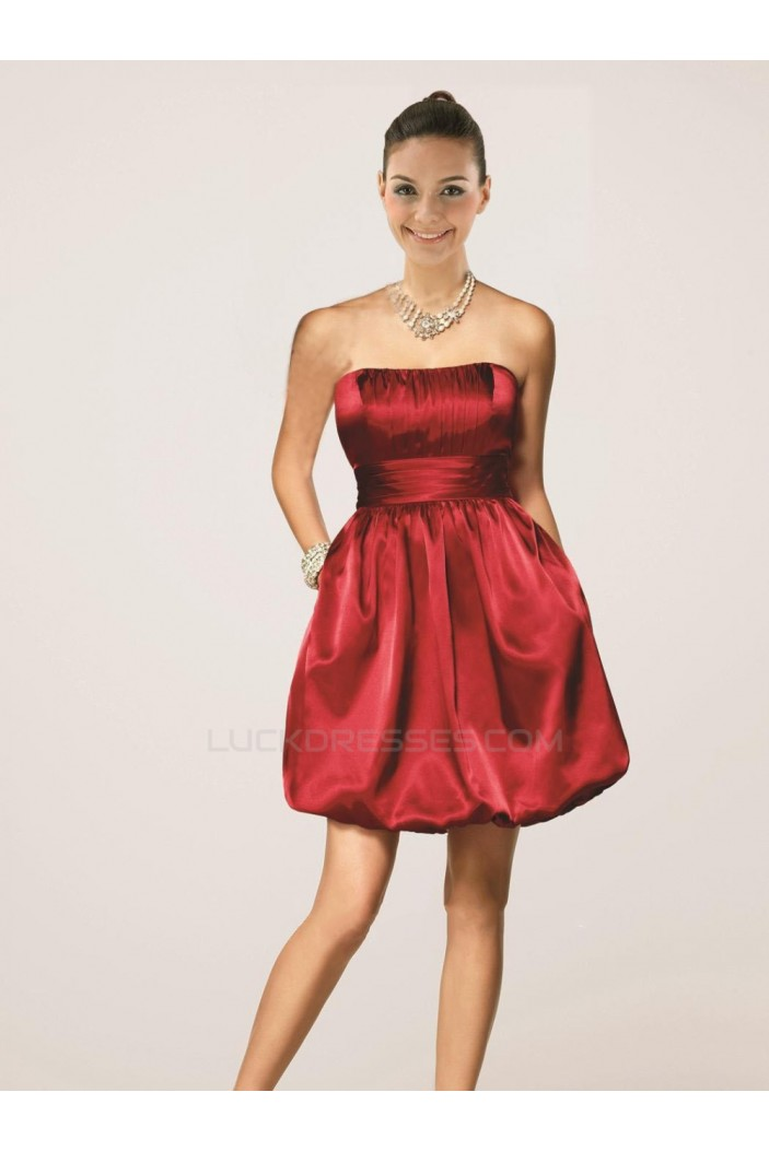 Short/Mini Strapless Red Bridesmaid Dresses/Wedding Party Dresses BD010469