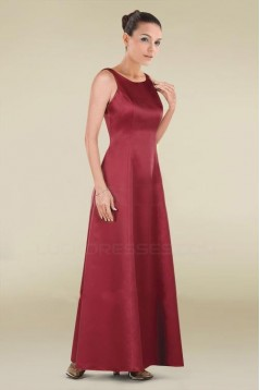 A-Line Long Red Satin Bridesmaid Dresses/Wedding Party Dresses BD010477