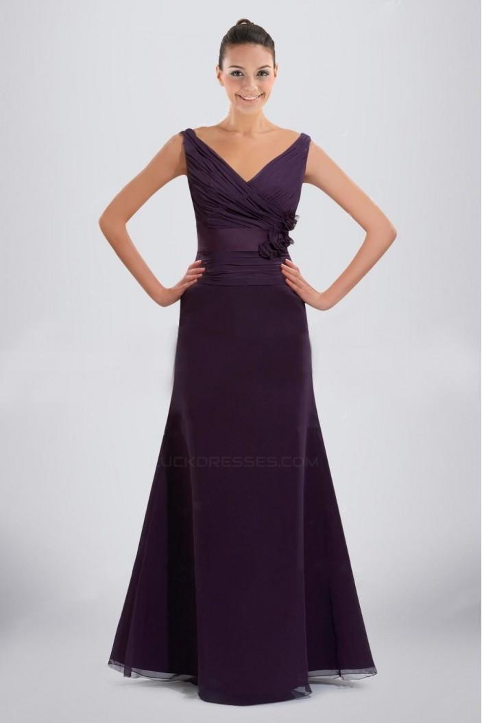 A-Line V-Neck Floor-Length Purple Chiffon Bridesmaid Dresses/Wedding Party Dresses BD010485