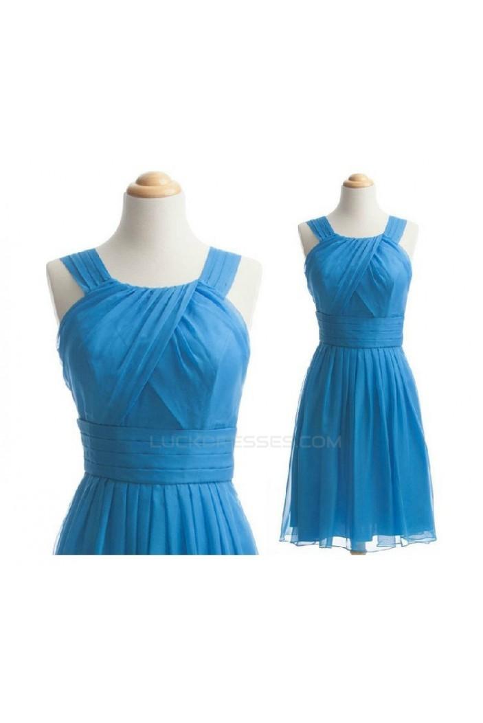 A-Line Short Blue Chiffon Bridesmaid Dresses/Wedding Party Dresses BD010488