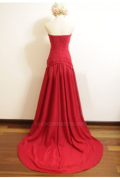 A-Line Sweetheart Long Red Chiffon Bridesmaid Dresses/Wedding Party Dresses BD010489