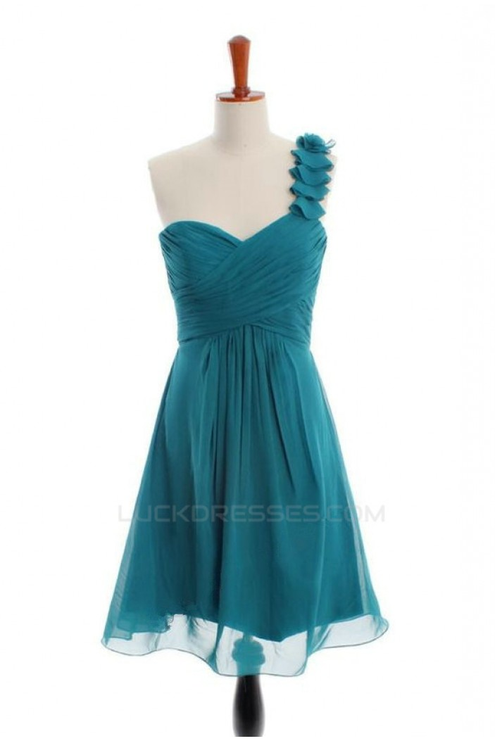 A-Line One-Shoulder Short Chiffon Bridesmaid Dresses/Wedding Party Dresses BD010491