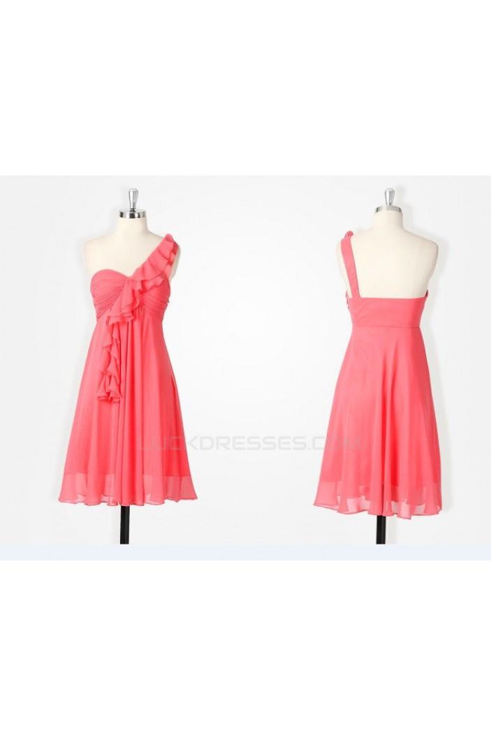A-Line One-Shoulder Short Chiffon Bridesmaid Dresses/Wedding Party Dresses BD010492