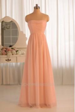 A-Line Strapless Floor-Length Chiffon Bridesmaid Dresses/Wedding Party Dresses BD010495