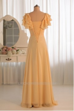 A-Line V-Neck Yellow Floor-Length Chiffon Bridesmaid Dresses/Wedding Party Dresses BD010497