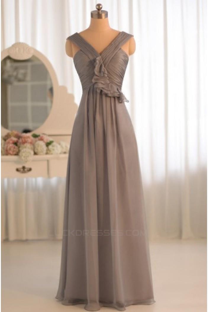 A-Line Grey Chiffon Floor-Length Bridesmaid Dresses/Wedding Party Dresses BD010500