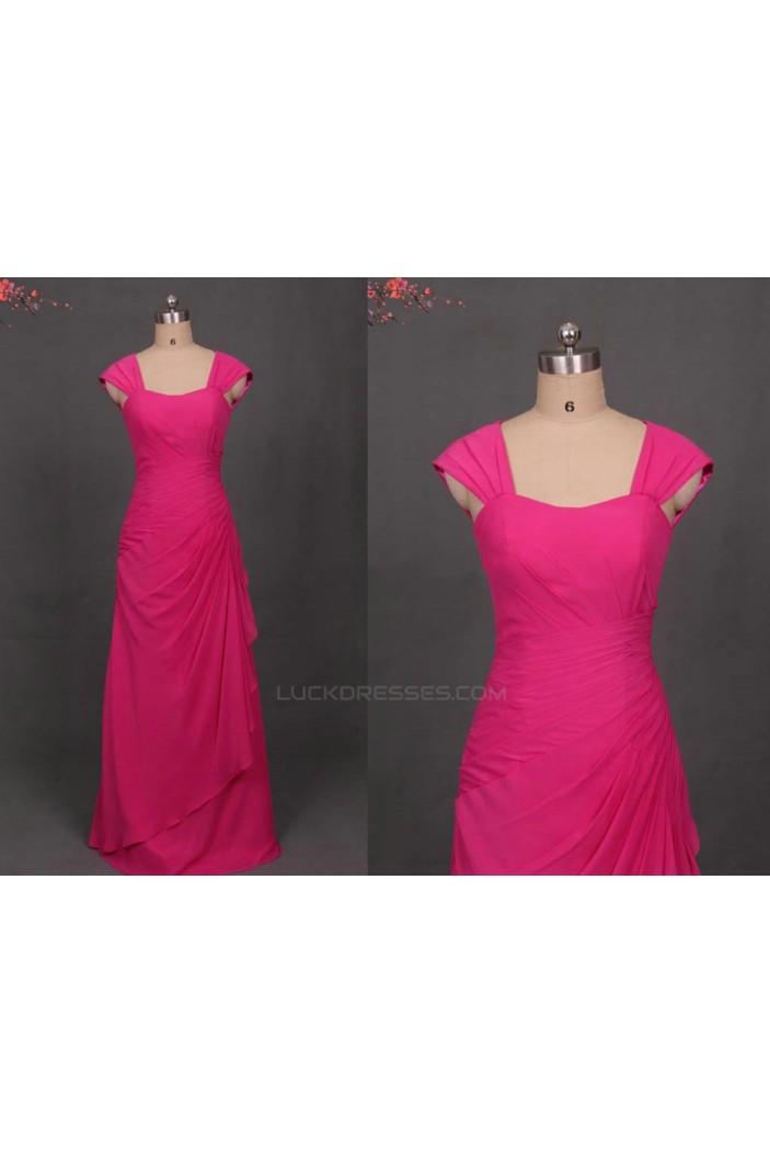 A-Line Long Pink Chiffon Bridesmaid Dresses/Evening Dresses BD010501