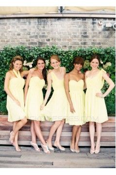 A-Line Sweetheart Short Yellow Chiffon Bridesmaid Dresses/Evening Dresses BD010504