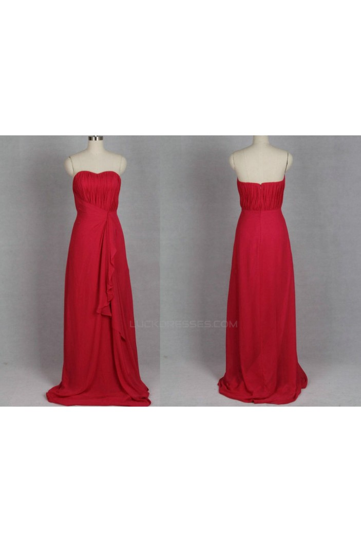 A-Line Strapless Long Red Chiffon Bridesmaid Dresses/Evening Dresses BD010506