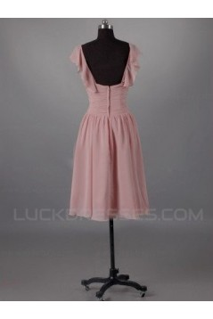A-Line Short Pink Chiffon Bridesmaid Dresses/Evening Dresses BD010508