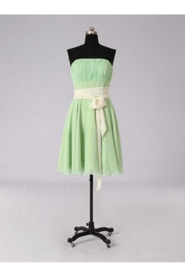 A-Line Strapless Green Short Chiffon Bridesmaid Dresses/Evening Dresses BD010513