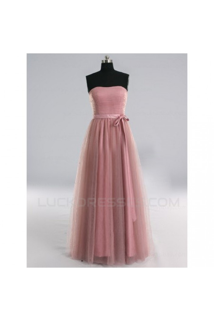 A-Line Strapless Long Tulle Bridesmaid Dresses/Evening Dresses BD010514