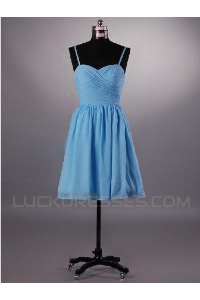 A-Line Spaghetti Strap Short Blue Chiffon Bridesmaid Dresses/Evening Dresses BD010515