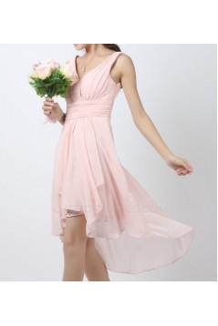 High Low V-Neck Short Pink Chiffon Bridesmaid Dresses/Evening Dresses BD010516