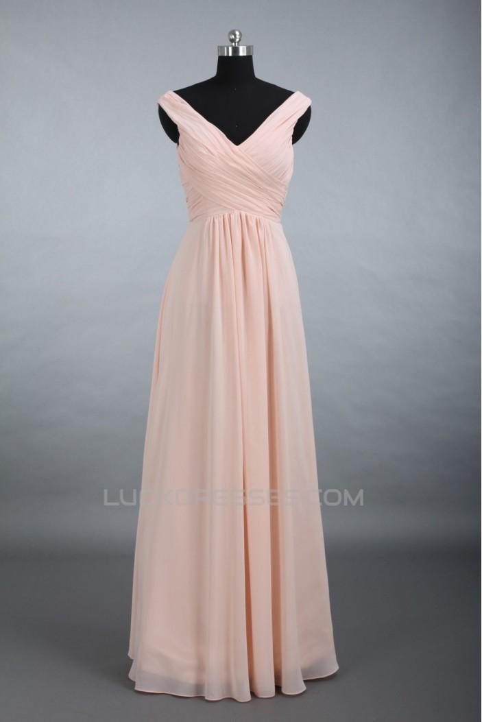 A-Line V-Neck Long Chiffon Bridesmaid Dresses/Evening Dresses BD010520