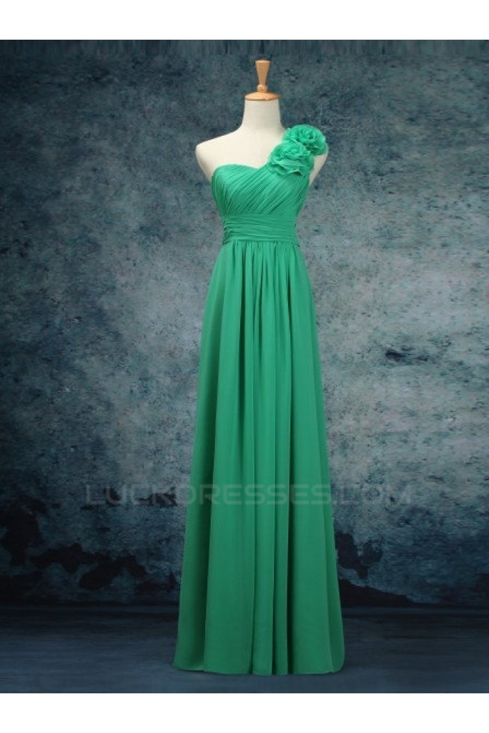 A-Line One-Shoulder Long Green Chiffon Bridesmaid Dresses/Evening Dresses BD010526