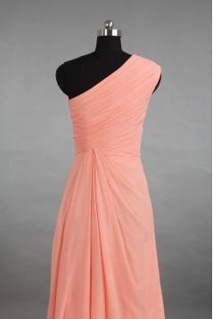 A-Line One-Shoulder Long Chiffon Bridesmaid Dresses/Evening Dresses BD010527