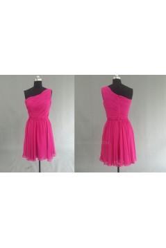 A-Line One-Shoulder Hot Pink Short Chiffon Bridesmaid Dresses/Evening Dresses BD010530